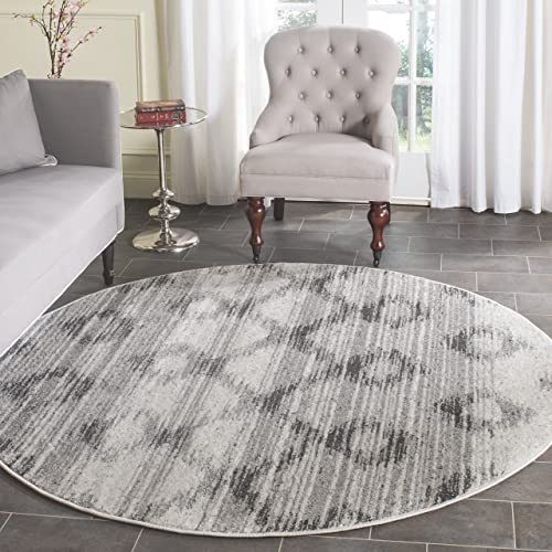 Safavieh Adirondack Collection ADR106P Silver and Charcoal Modern Distressed Round Area Rug 4'