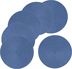 Mainstays 15-Inch Braided Placemat 6-Pack, Blue