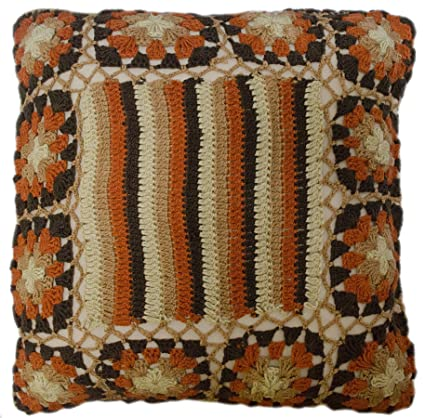 Fabulous Amazon Com Eva Floral Stripe Crochet Knit Throw Pillow Theyellowbook Wood Chair Design Ideas Theyellowbookinfo