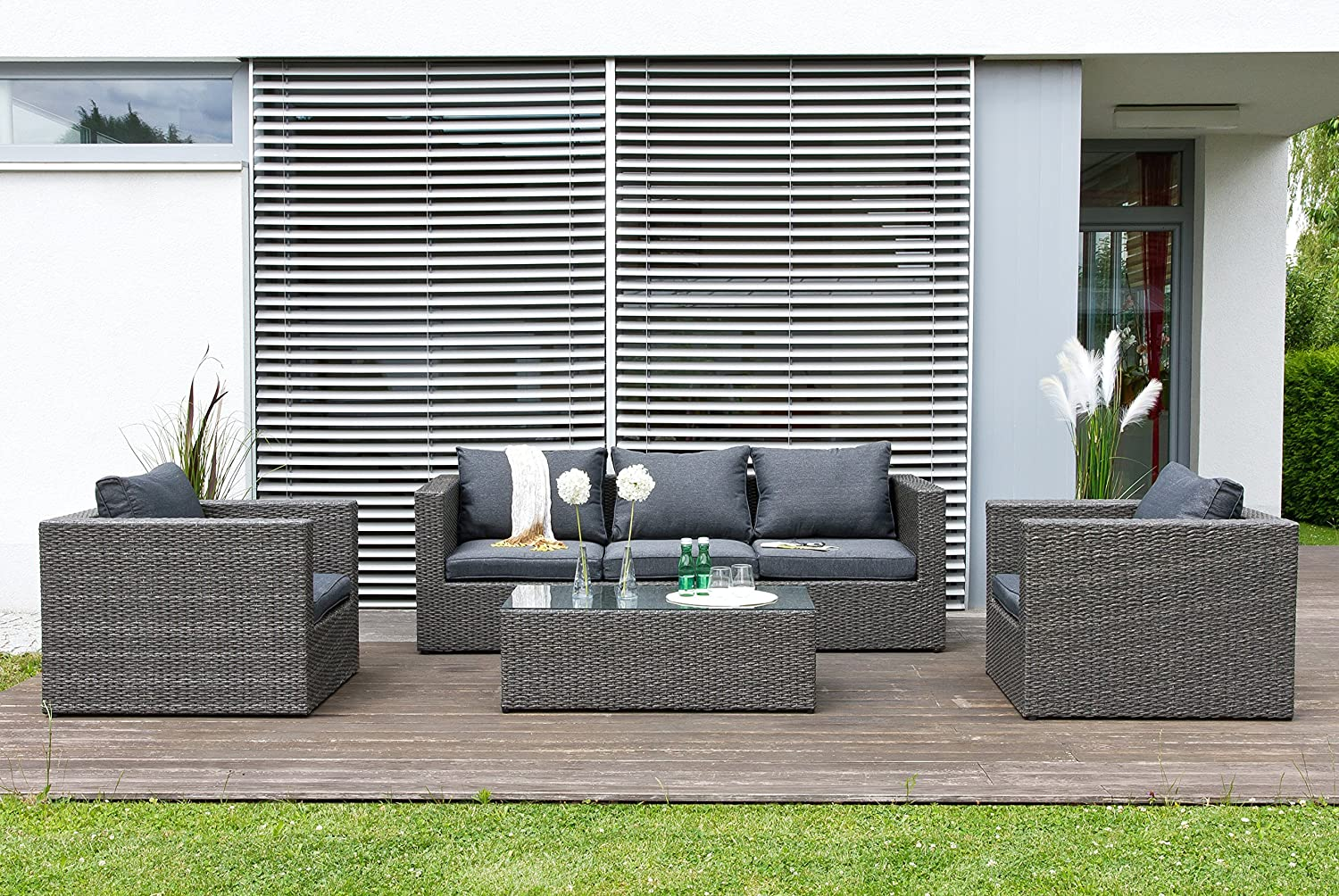 rattan gartengarnitur lounge nomade garten sitzgruppe mit tisch g nstig kaufen. Black Bedroom Furniture Sets. Home Design Ideas