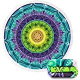 Beach Towel Large Mandala Beach Towel Blanket with Tassels Ultra Soft Super Water Absorbent Multi-Purpose Beach Throw 59 inch across By Ricdecor (NO.24)
