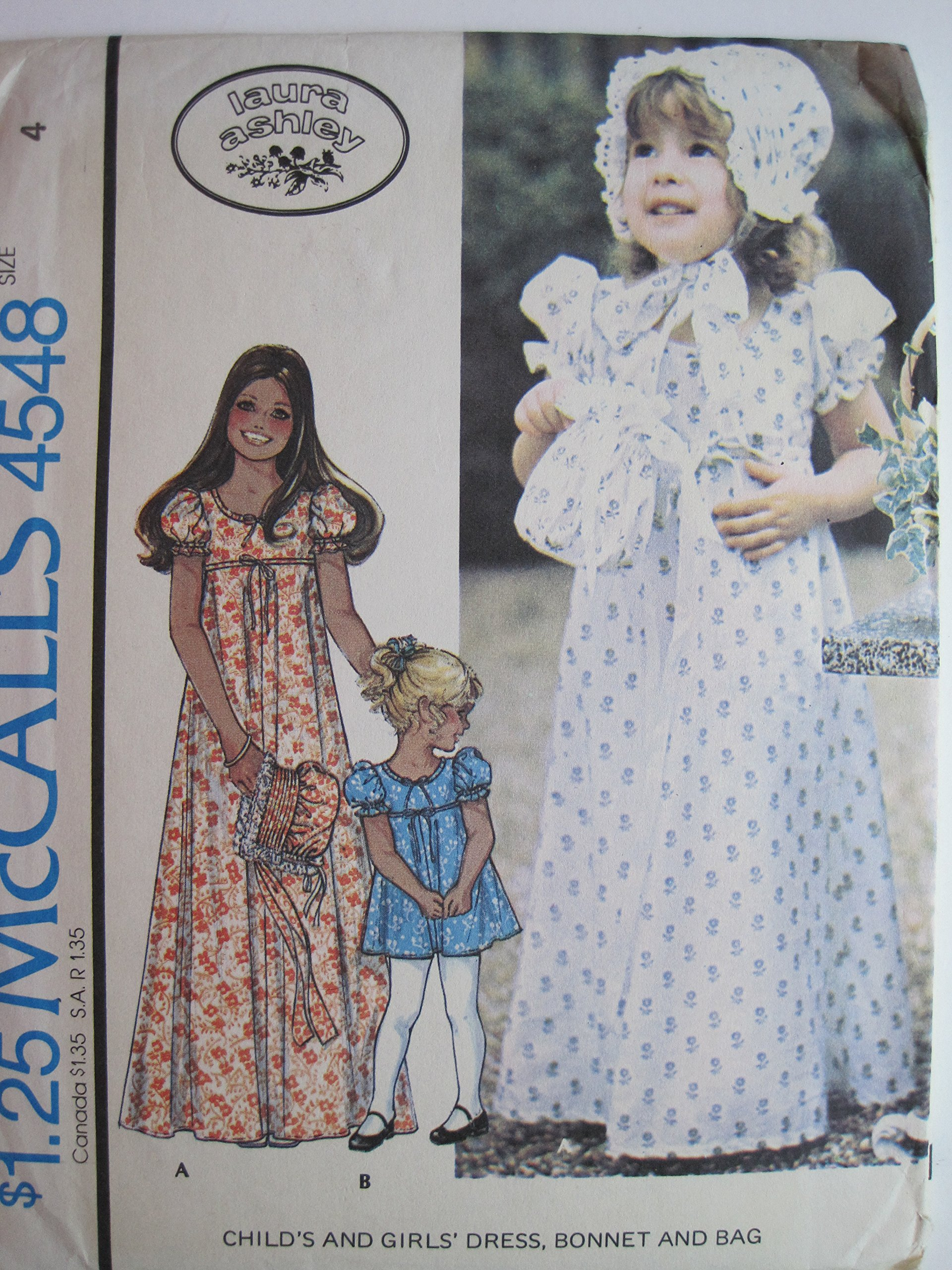 d3a3290420f9 McCall's Pattern 4548 Laura Ashley Child's Dress, Bonnet, and Bag ...