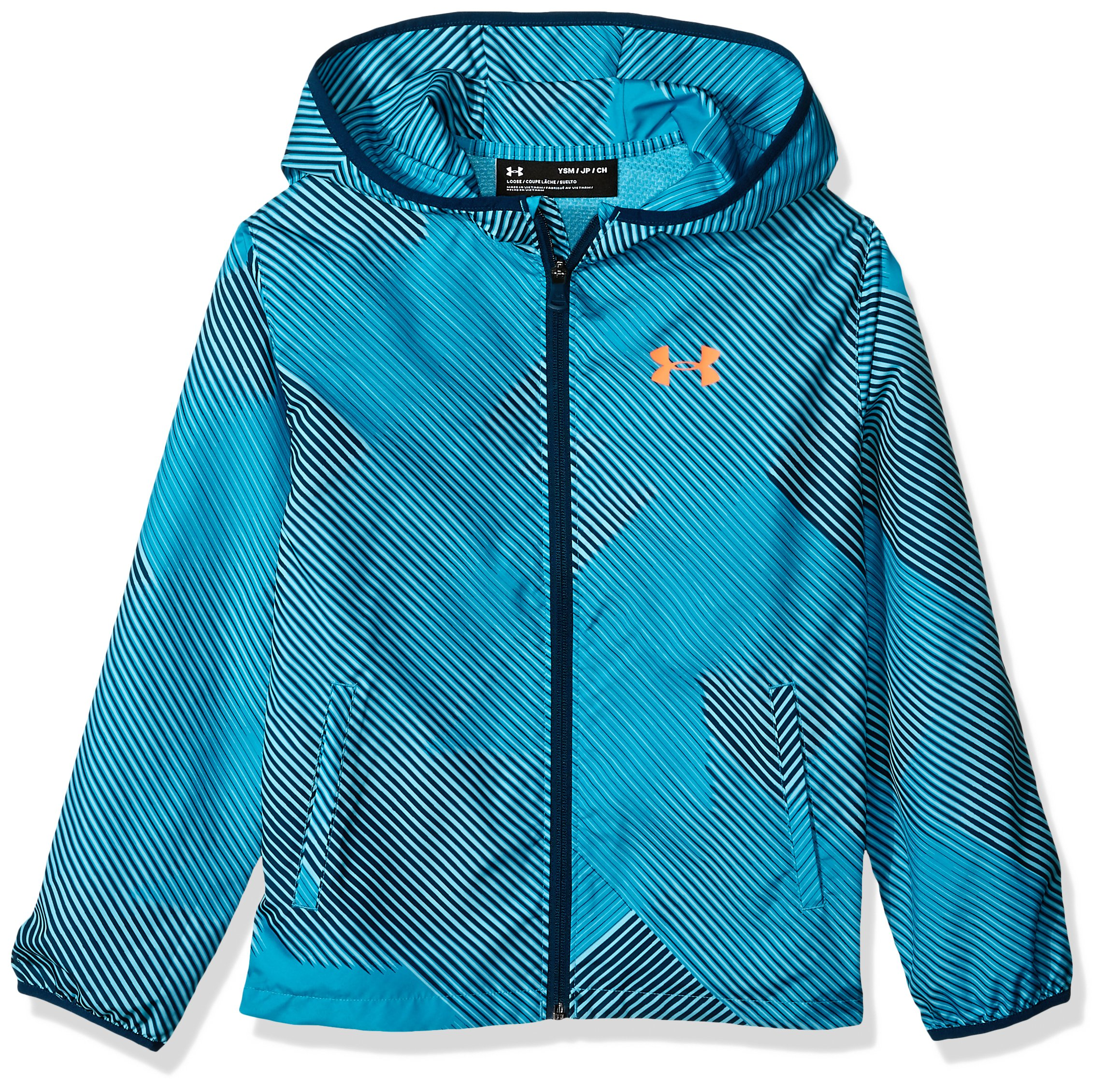 Under Armour Boys' Sackpack Jacket, Techno Teal (489)/Magma Orange, Youth Small