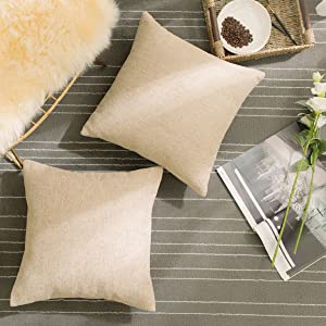 Home Brilliant Square Pillow Covers Linen Chenille Blend Textured Cushion Cover Decorative Pillowcases for Couch Bedroom Bedding, 18x18 Inch, Tan