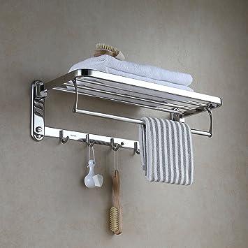 Eridanus Estante de Pared y toallero de Acero Inoxidable SUS304 Cepillado Inoxidable Plegable Estante de baño