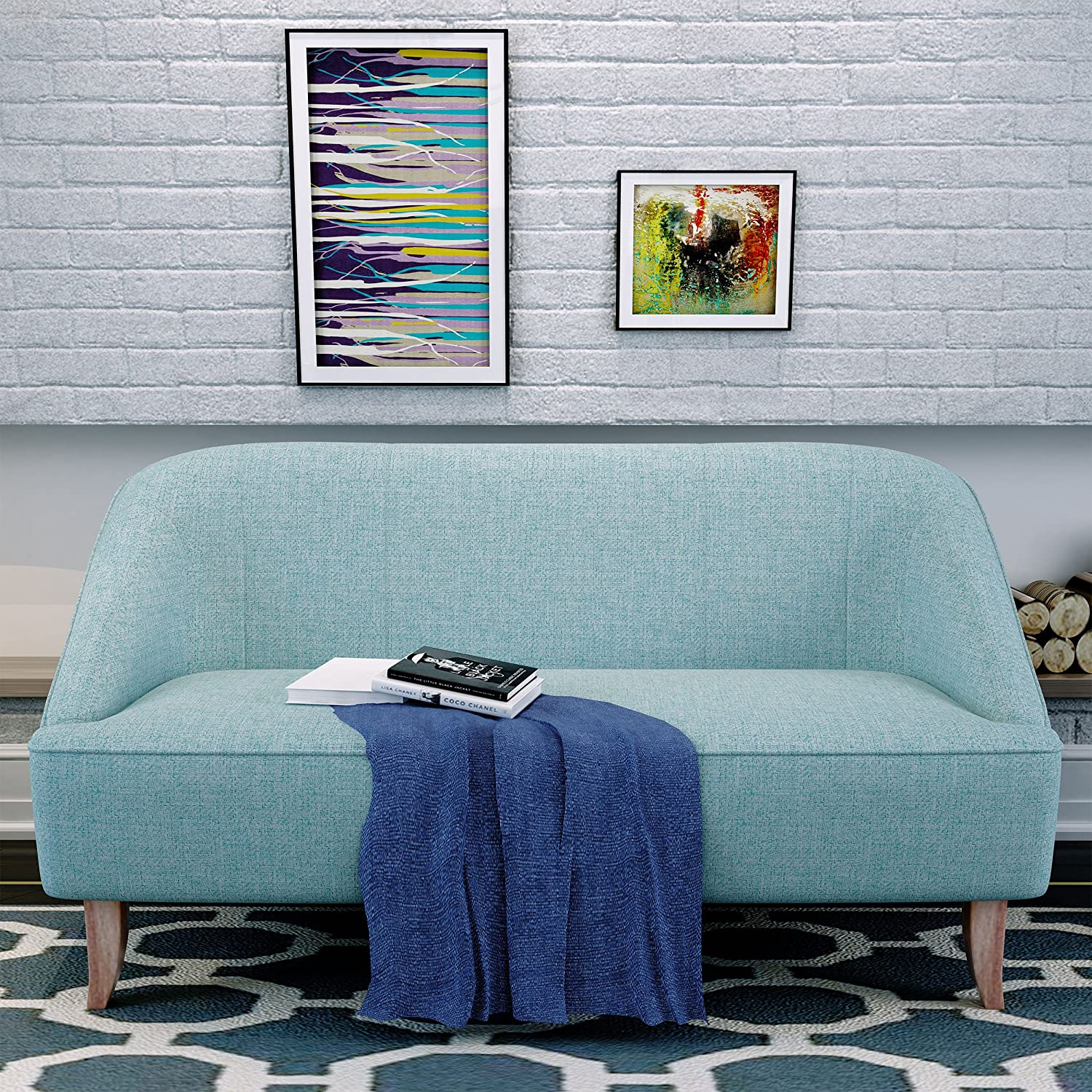 Christopher Knight Home Justus Mid Century Modern Fabric Loveseat, Light Blue/Natural