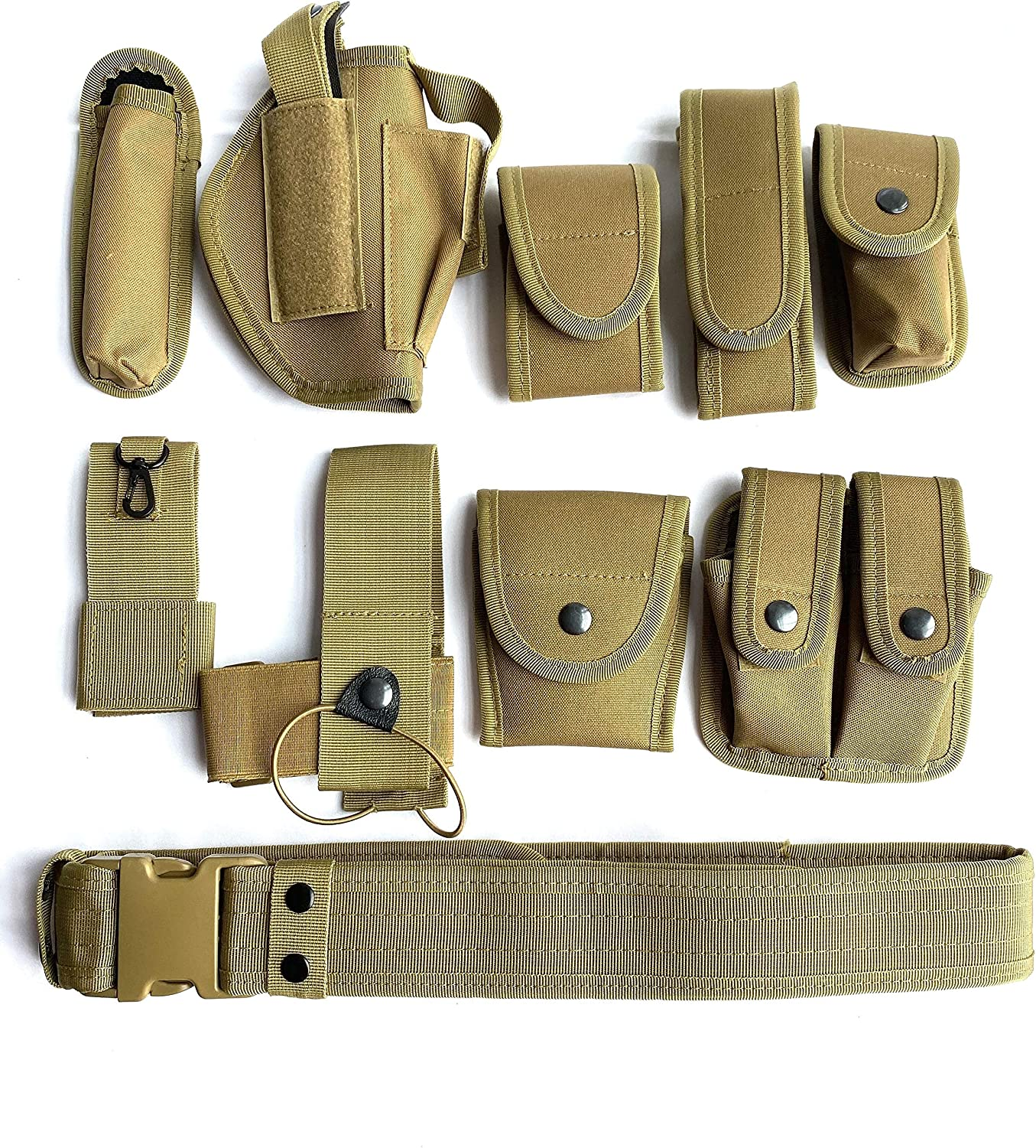 Khaki Law Enforcement Modular Equipment System Security Military Tactical Duty Utility Belt (10 in 1, adjustable 35-45 inches, Khaki)