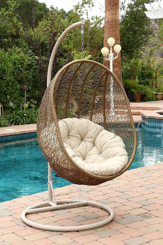 Amazon.com : Abbyson Hampton Outdoor Wicker Swing Chair, Light Brown :  Garden U0026 Outdoor