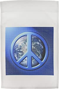 3dRose fl_18146_1 Peace on Earth Large Blue Peace Sign Over The Planet Earth Garden Flag, 12 by 18-Inch