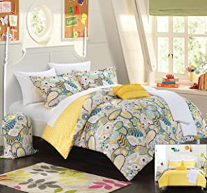 Chic Home 8 Piece Princess Paisley and Polka Dot Printed Reversible Comforter with Sheet Set, Twin X-Long, Yellow