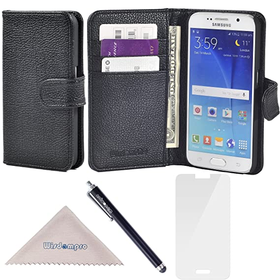 finest selection 9c2e1 cd9ed S6 Case, Wisdompro Premium PU Leather 2-in-1 Protective [Folio Flip Wallet]  Case with Credit Card Holder/Slots for Samsung Galaxy S6 -Black w/o ...