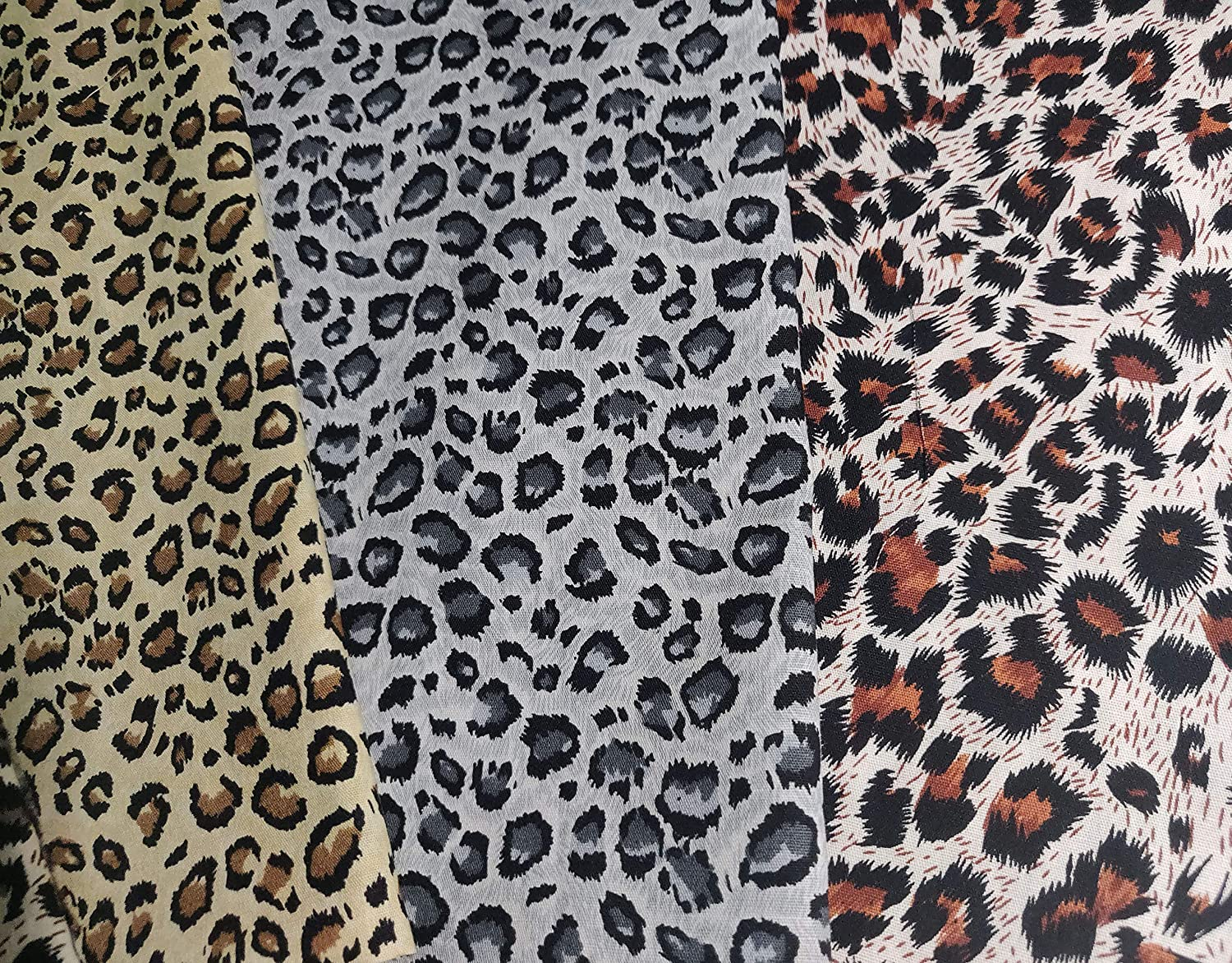 Quilting Fabric Squares 5pcs 18.8 x 16.5 inches Leopard Pattern Cotton Fabric Squares Sewing Fabric 48 x 42cm Fat Quarters Assorted Animals Printed Fabric Bundles for Patchwork Craft