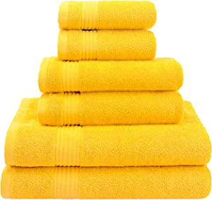 American Veteran Towels Hotel & Spa Quality Super Absorbent & Soft, 6-Piece Towel Set for Kitchen & Decorative Bathroom, Includes 2 Bath Towels 2 Hand Towels 2 Washcloths - Canary Yellow