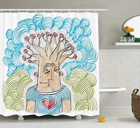 Tree Of Life Decor Shower Curtain Set By Ambesonne Weird Hand Drawn Picture