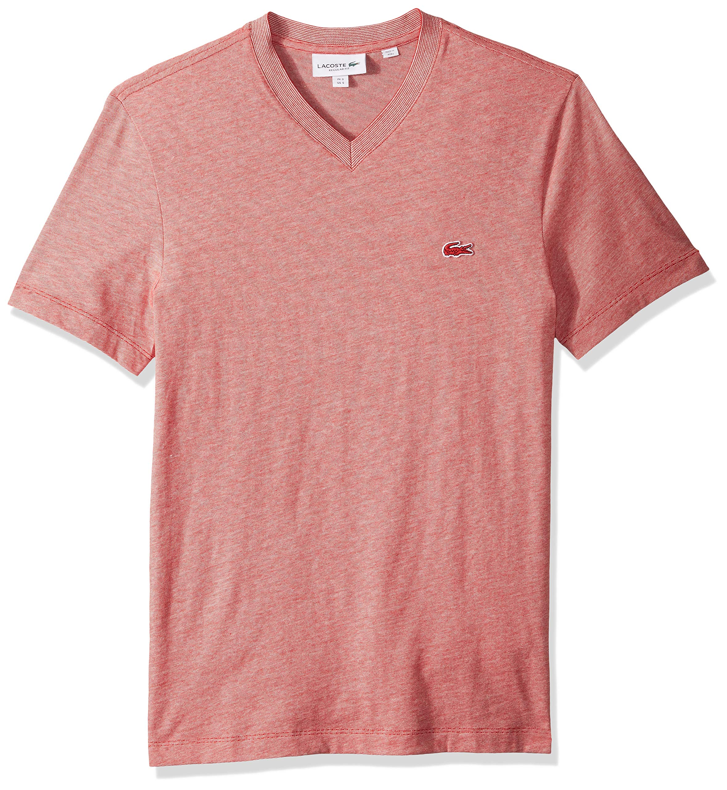 Lacoste Men's S/S Striped Jersey Raye T-Shirt Regular FIT, red/Flour, X-Large