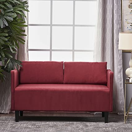 Delicieux Sophie Living Room Office Fabric Loveseat (Deep Red)