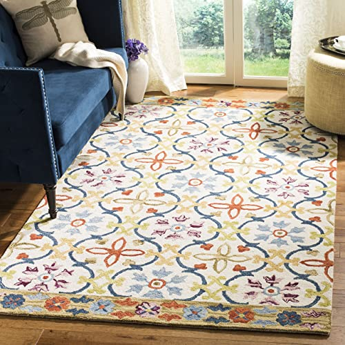 Safavieh Suzani Collection SZN310B Hand-Hooked Ivory and Multi Wool Area Rug 8' x 10'