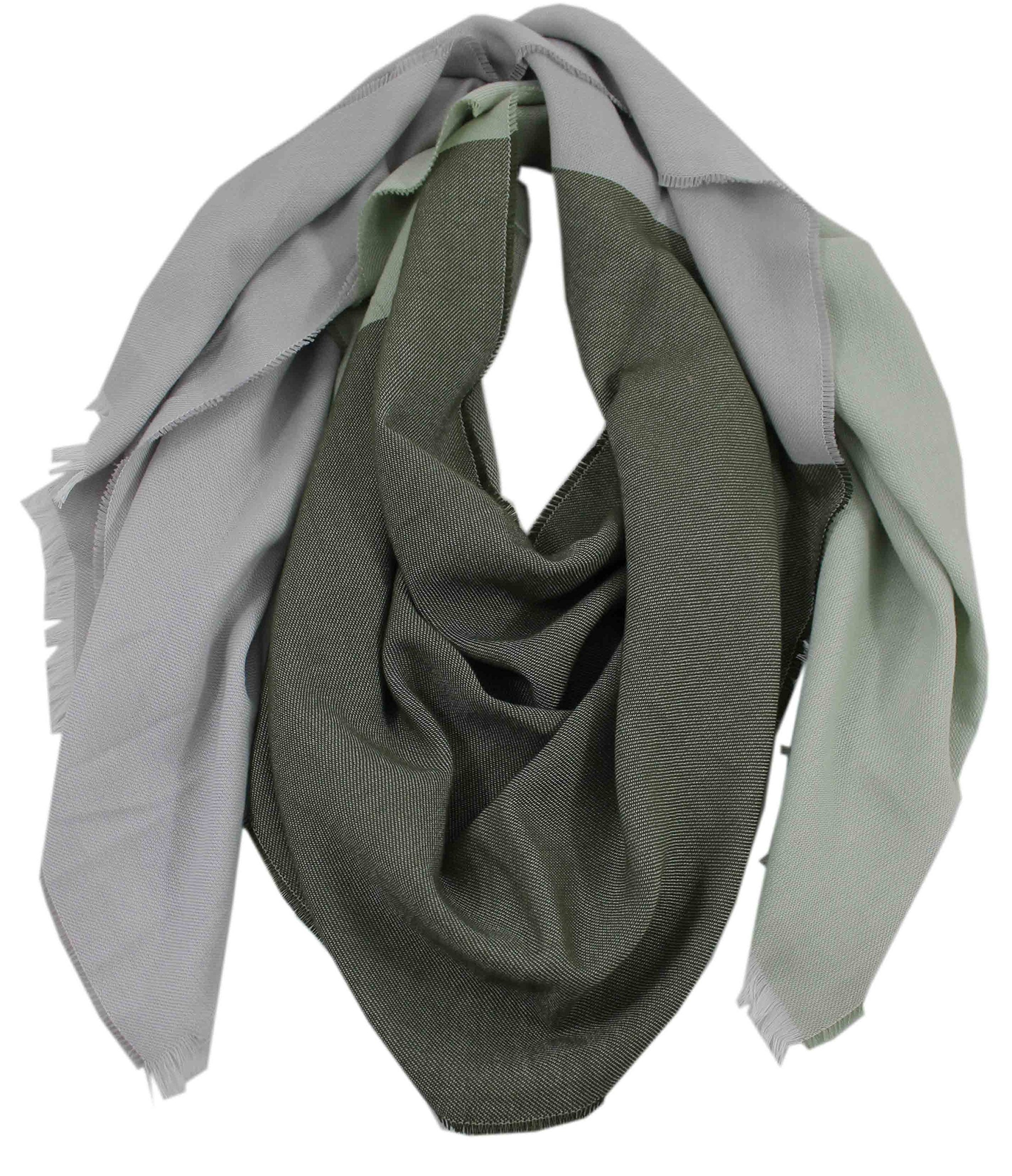 Scarf Summer Scarf Web Scarf Stripe & Two Tone Look- Gray Green 100% Cotton