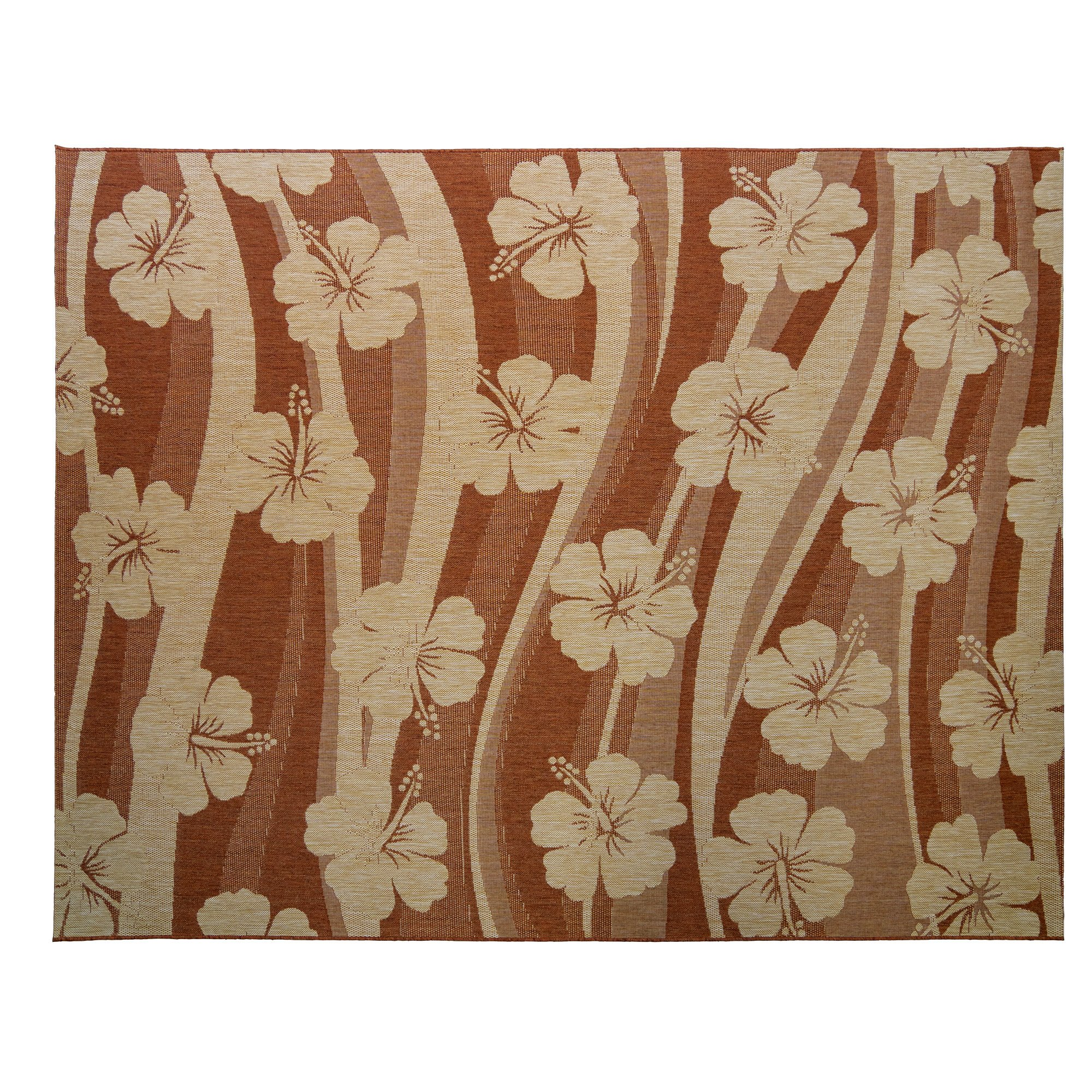 Gertmenian Coastal Beachfront Rug Collection Hibiscus 3-D Outdoor Rugs 8x10, Large, Light Brown