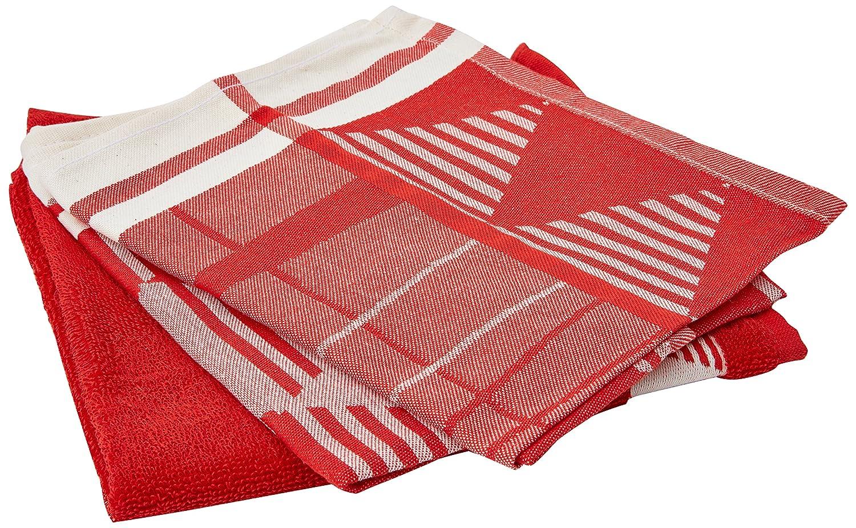 De Witte Lietaer Lot de 2 torchons Coton avec Essuie Main /éponge Rouge 50x70 cm