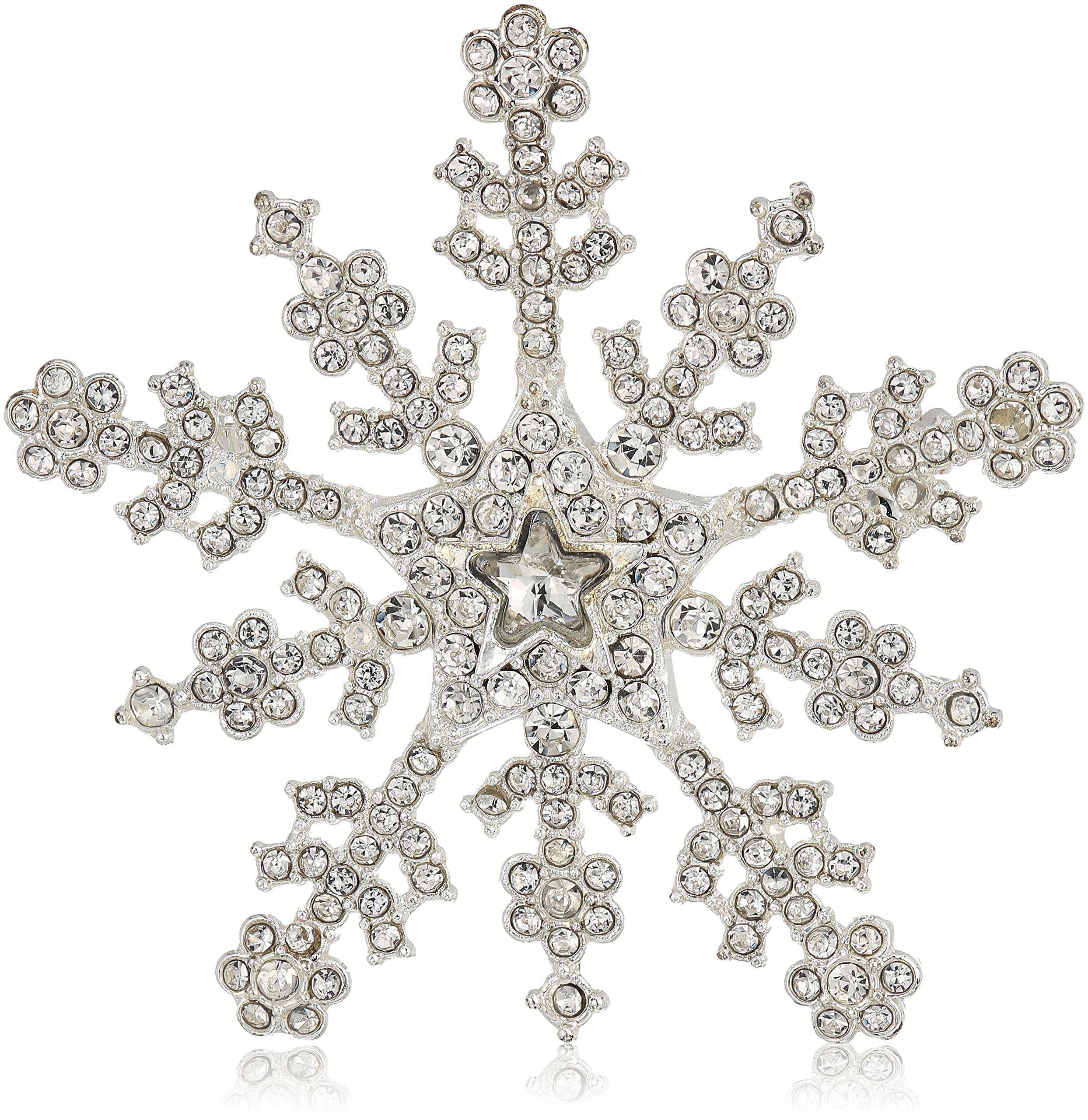 Napier silver-tone and crystal snowflake brooch and pin