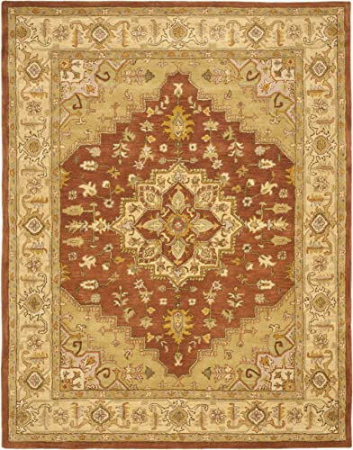 Safavieh Heritage Collection HG345A Handcrafted Traditional Oriental Rust and Gold Wool Area Rug 8'3″ x 11'