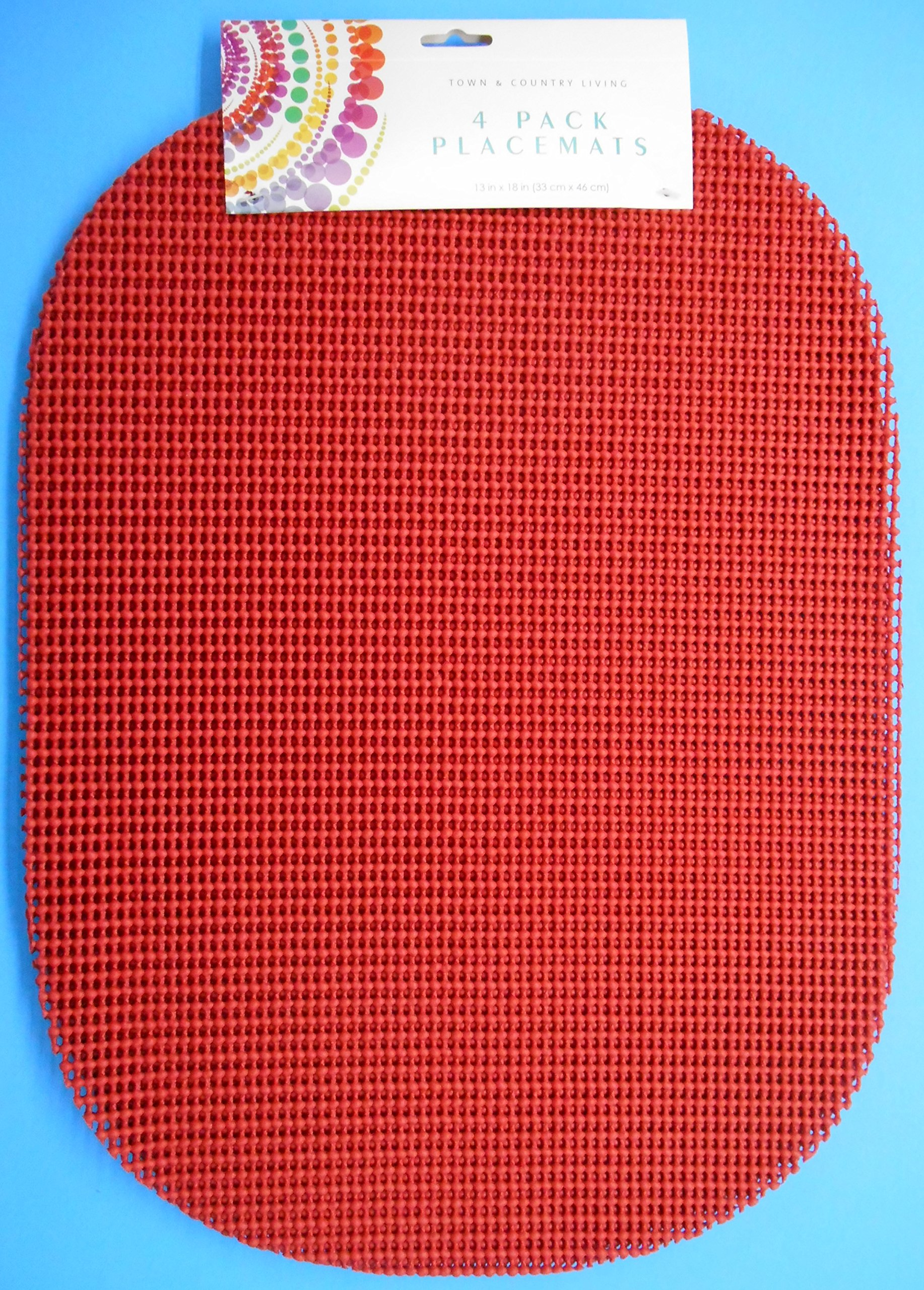 4-Pack Waffle-Style Placemats, Non-Slip, 13'' X 18'' (Red)