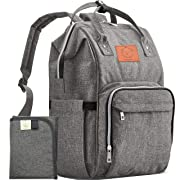 Diaper Bag Backpack - Multi-Function Waterproof Travel Baby Bags for Mom, Dad, Men, Women - Large Maternity Nappy Bags for Girls & Boys - Durable, Stylish - Diaper Mat Included (Classic Gray)