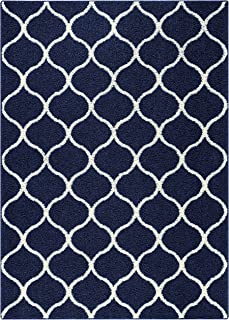product image for Maples Rugs Rebecca Contemporary Area Rugs for Living Room & Bedroom [Made in USA], 5 x 7, Navy Blue/White