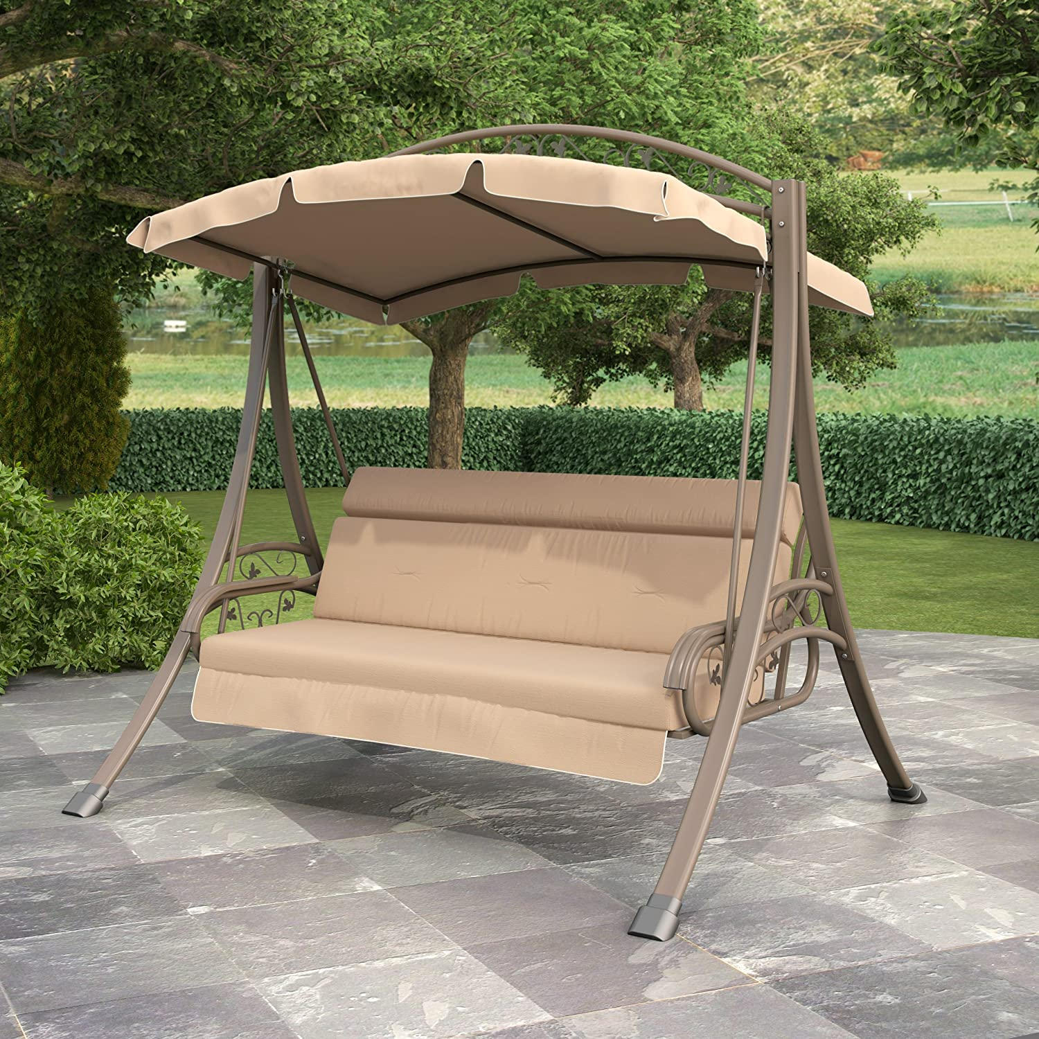 Amazon CorLiving PNT 803 S Nantucket Patio Swing with Arched