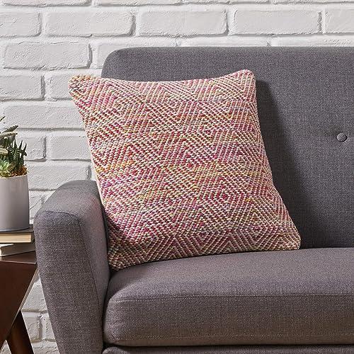 Great Deal Furniture Fiona Boho Cotton Throw Pillow, Multicolor