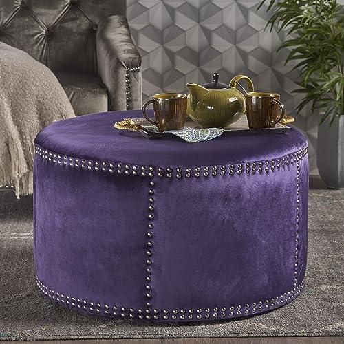 Christopher Knight Home Jesper Studded Plum Velvet Ottoman,