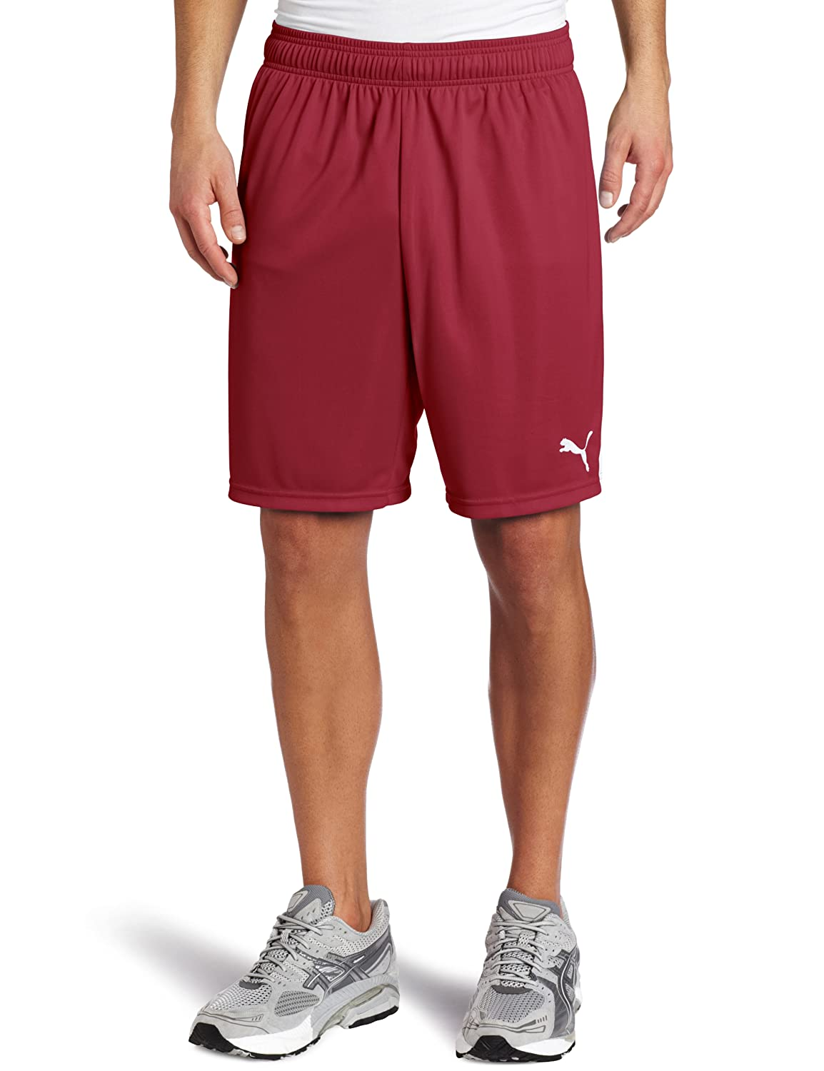 Puma Men's Team Shorts without Inner Slip, Youth Small, Team Burgundy-Weiß
