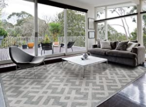 Homegnome Indoor Outdoor Grey Area Rug (8'x10', Geometric Grey)
