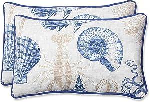 Pillow Perfect Outdoor Sea Life Marine Rectangular Throw Pillow, Set of 2,Blue,11.5