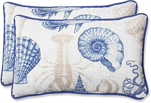 Pillow Perfect Outdoor Sea Life Marine Rectangular Throw Pillow, Set of 2,Blue,11.5 x 18.5