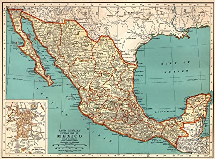 Amazon Com 1939 Antique Mexico Map Original Vintage Map Of Mexico