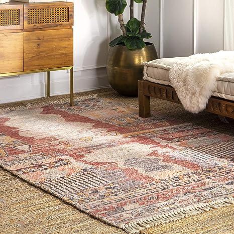 Amazon Com Nuloom Hermina Flatweave Tribal Jute Rug 4 X 6 Multi Furniture Decor