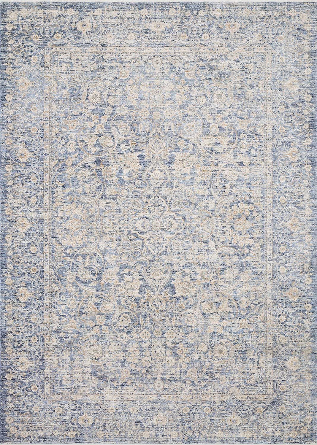"""Loloi Pandora Collection Distressed Persian Vintage Area Rug, 2'6"""" x 10'0"""" Runner, Blue/Gold"""