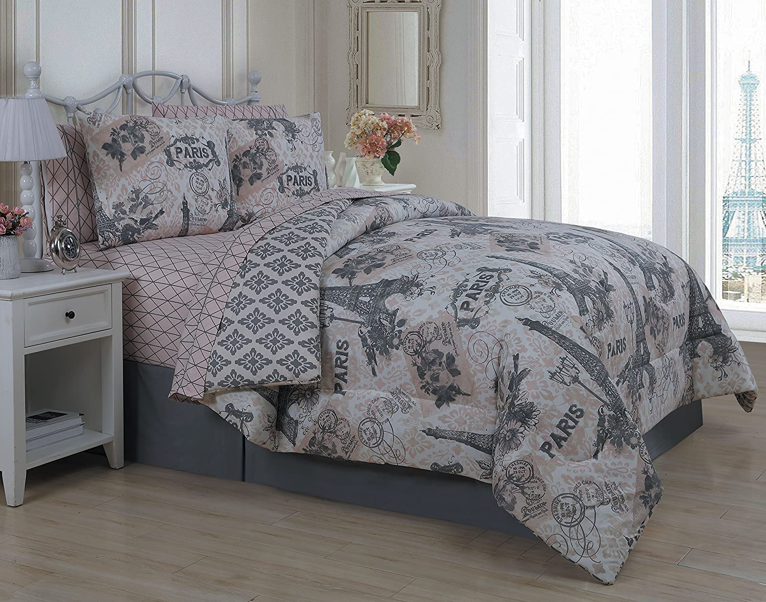 Eiffel tower bed in a bag - Amazon Com Geneva Home Fashion 8 Piece Cherie Comforter Set Queen Coral Home Kitchen