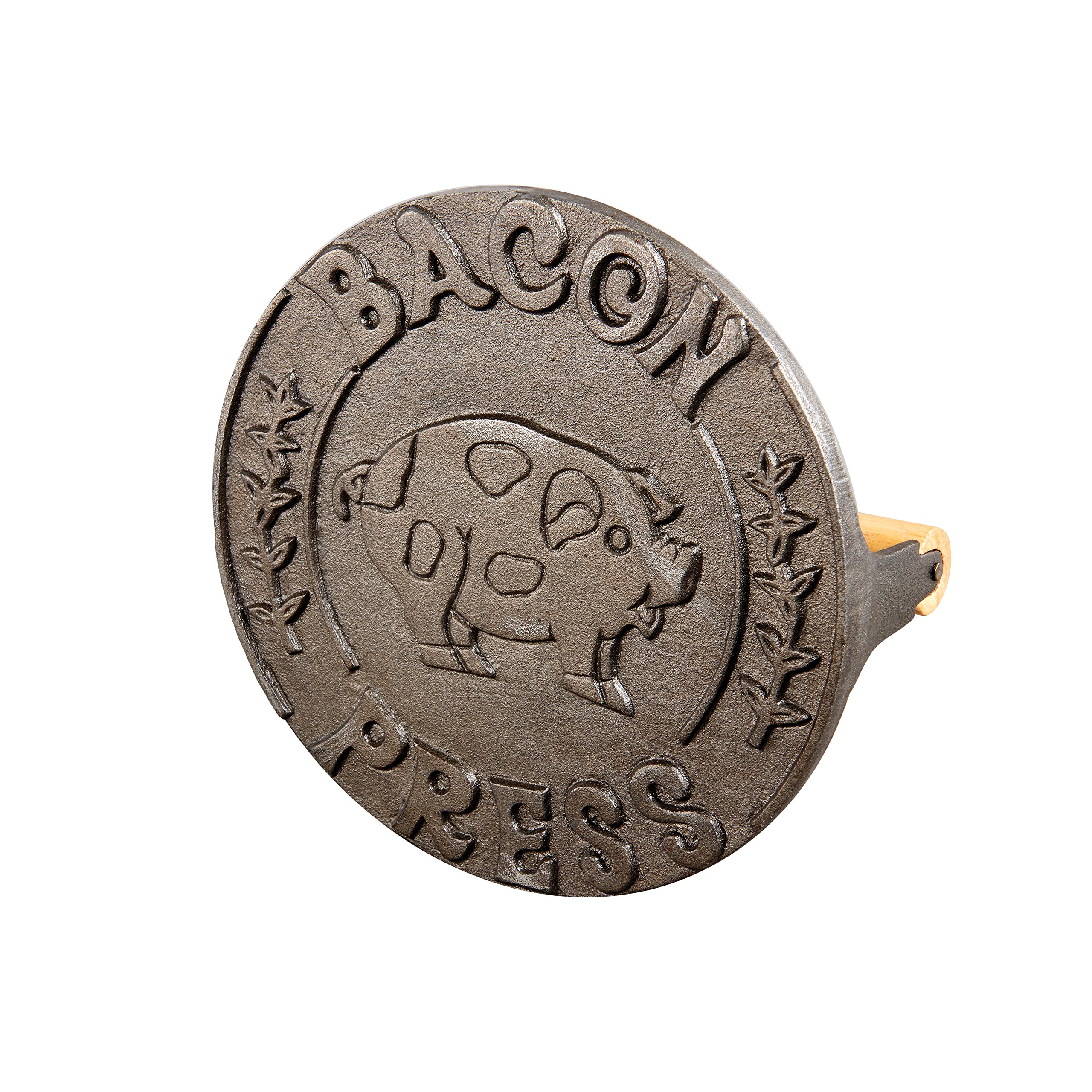 HIC Bacon Press and Steak Weight, Heavyweight Cast Iron with Wooden Handle, For Grill Panini Burgers Bacon and Sausage by HIC Harold Import Co.