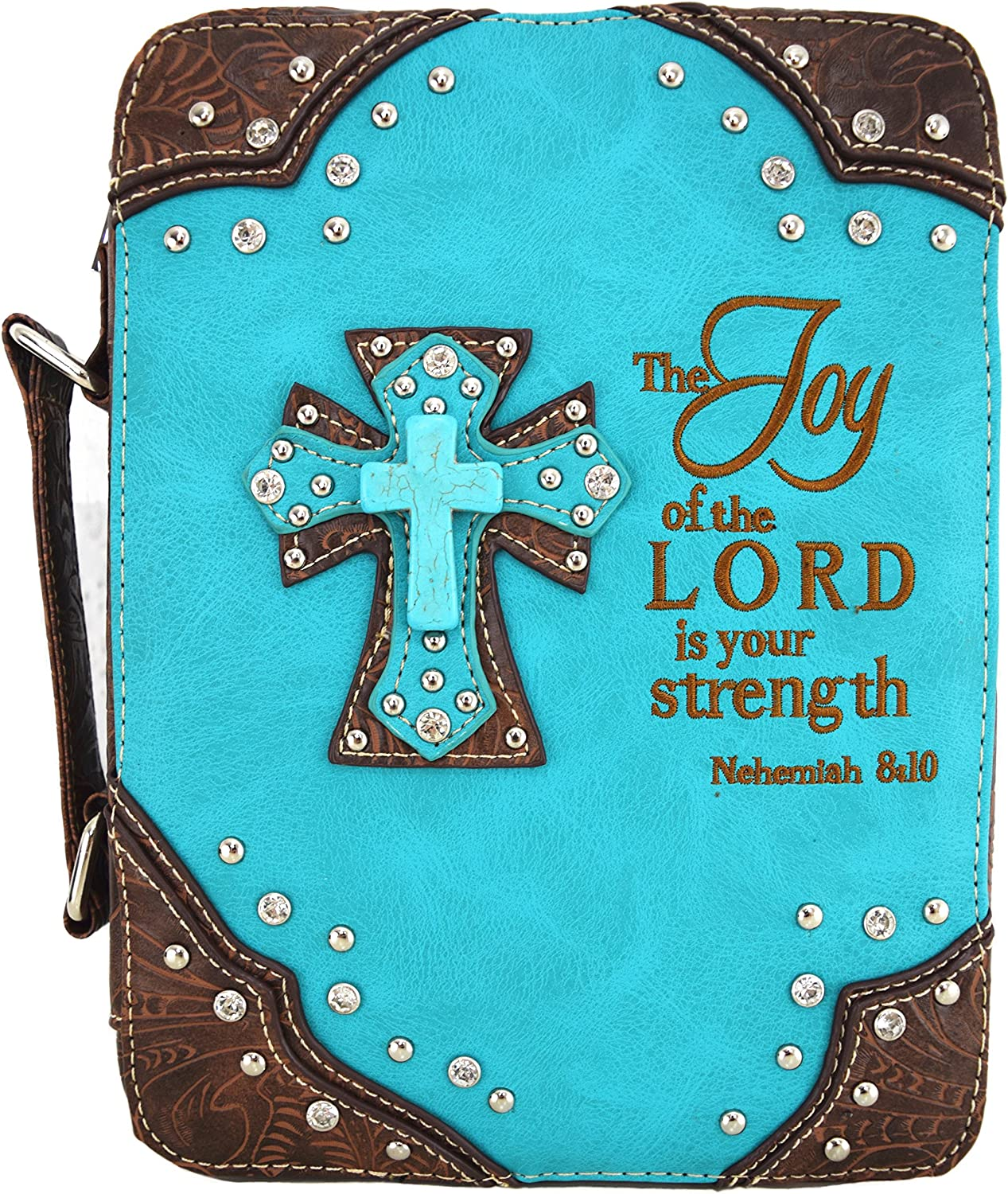 WF Western Style Embroidered Scripture Bible Verse Cover Cross Extra Strap Messenger Bag Crossbody