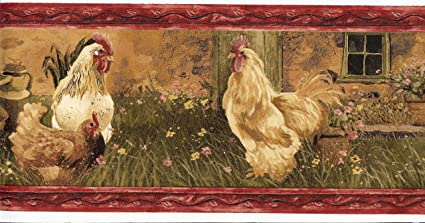KC063121B Country Chicken Rooster Wallpaper Border