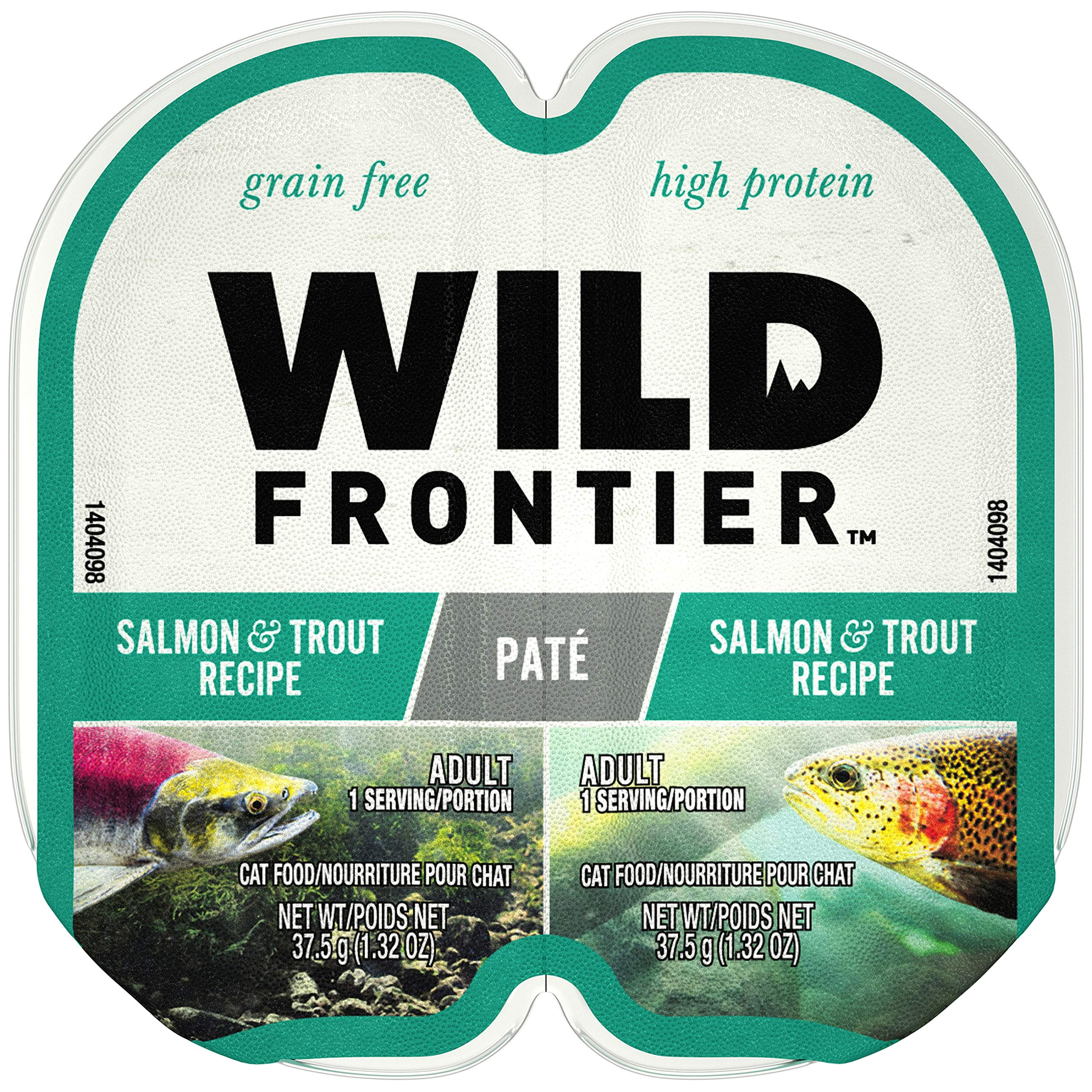 Nutro Wild Frontier High Protein Grain Free Pate Wet Cat Food, Salmon & Trout, 2.65 Oz. (24 Twin Packs) by Wild Frontier Wet Cat