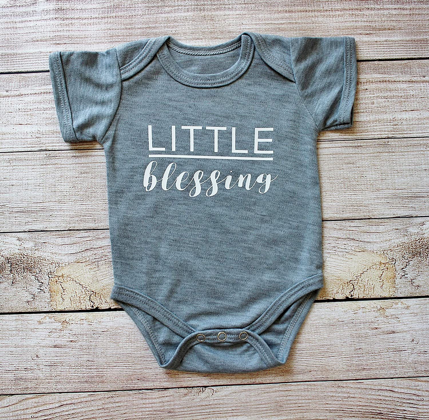 inc Newborn Little Blessing Printed Baby Short Sleeve Bodysuit Cottonseed