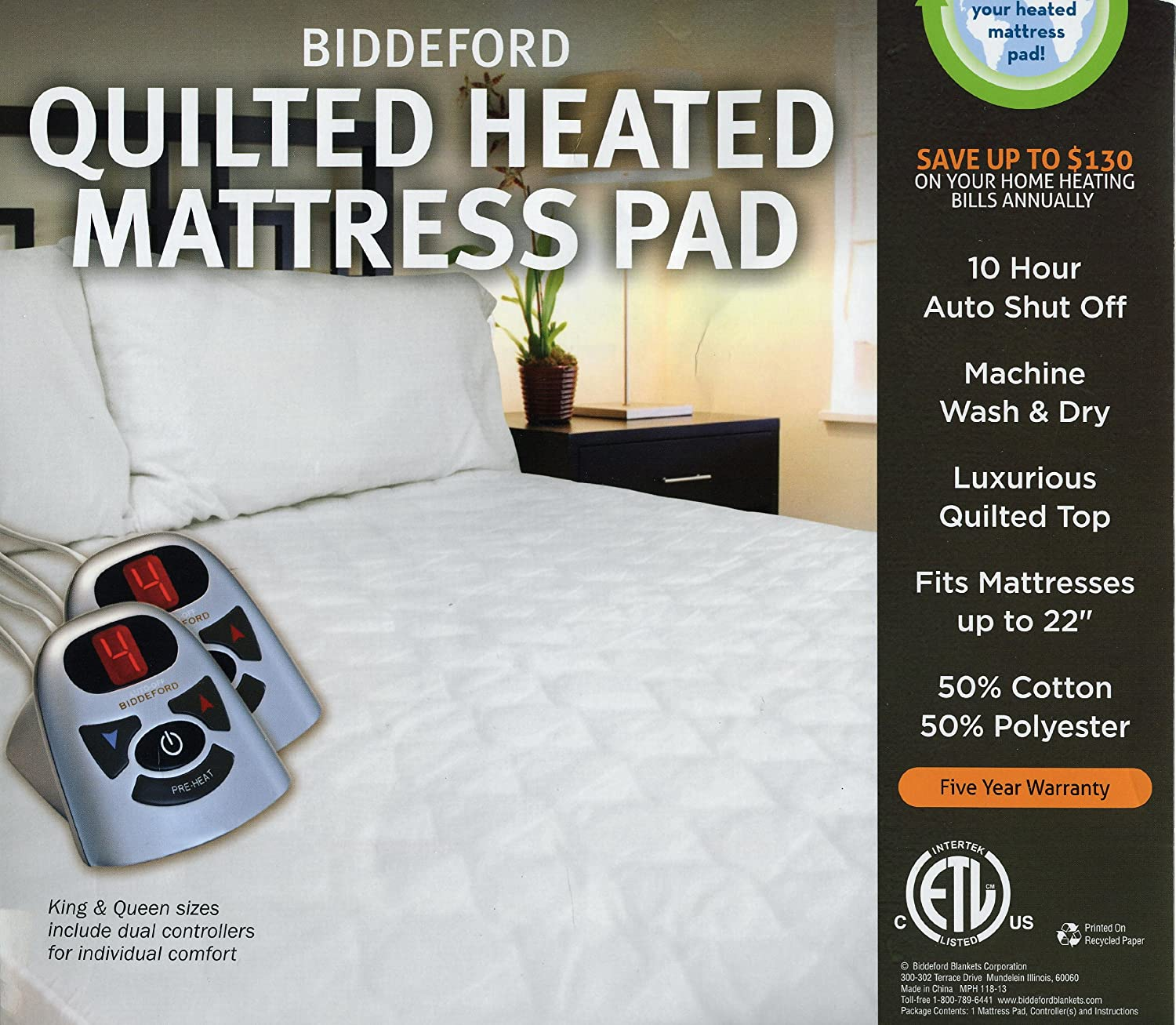 King Size Biddeford Electric Automatic Heated Mattress Pad *New in Package*