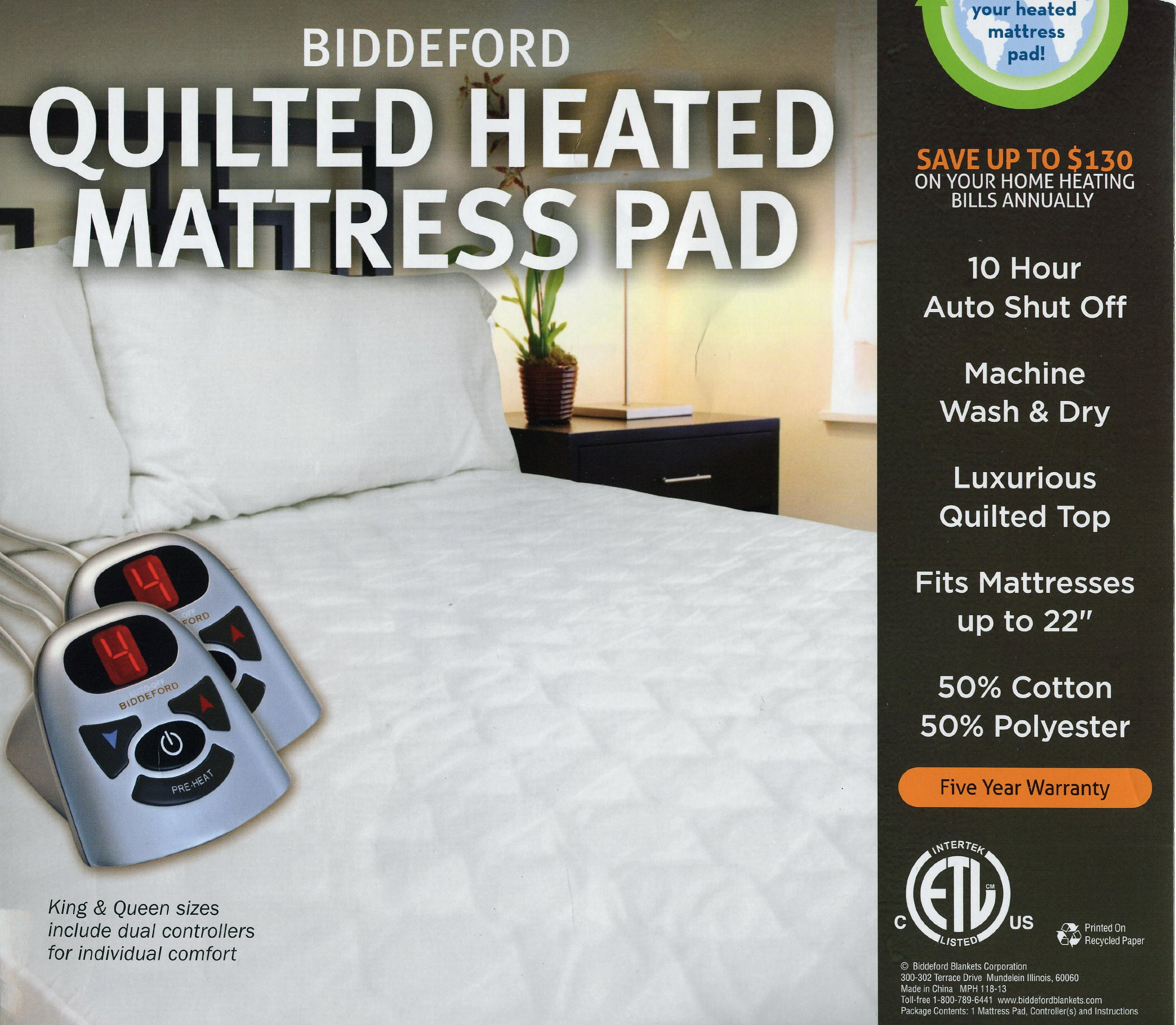 Biddeford Automatic Heated Quilted Mattress Pad White Color (1, Twin)