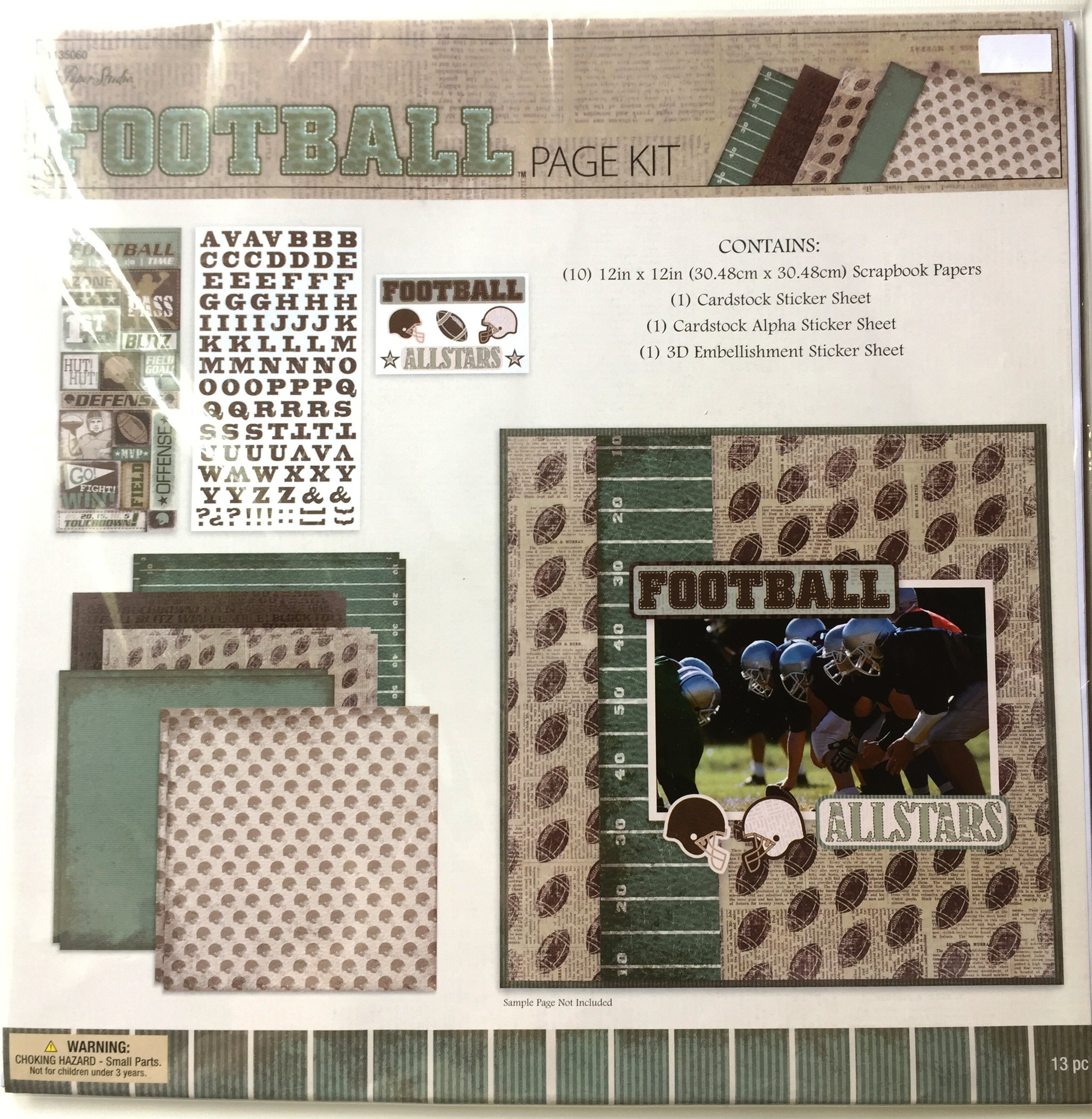 Football 12x12 inch Page Kit, 13 pcs, Paper, Stickers, Embellishments by The Paper Studio (Image #2)