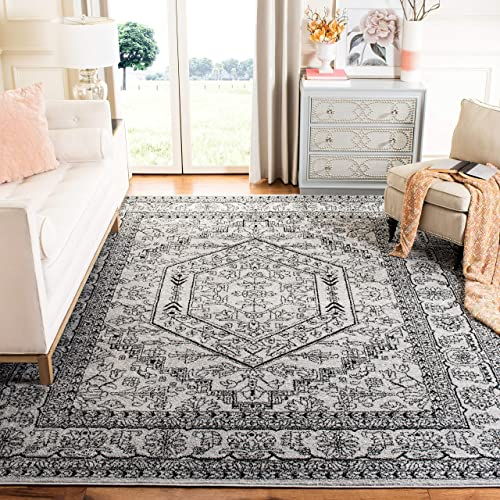 Safavieh Adirondack Collection ADR108A Silver and Black Oriental Vintage Medallion Area Rug 9' x 12'