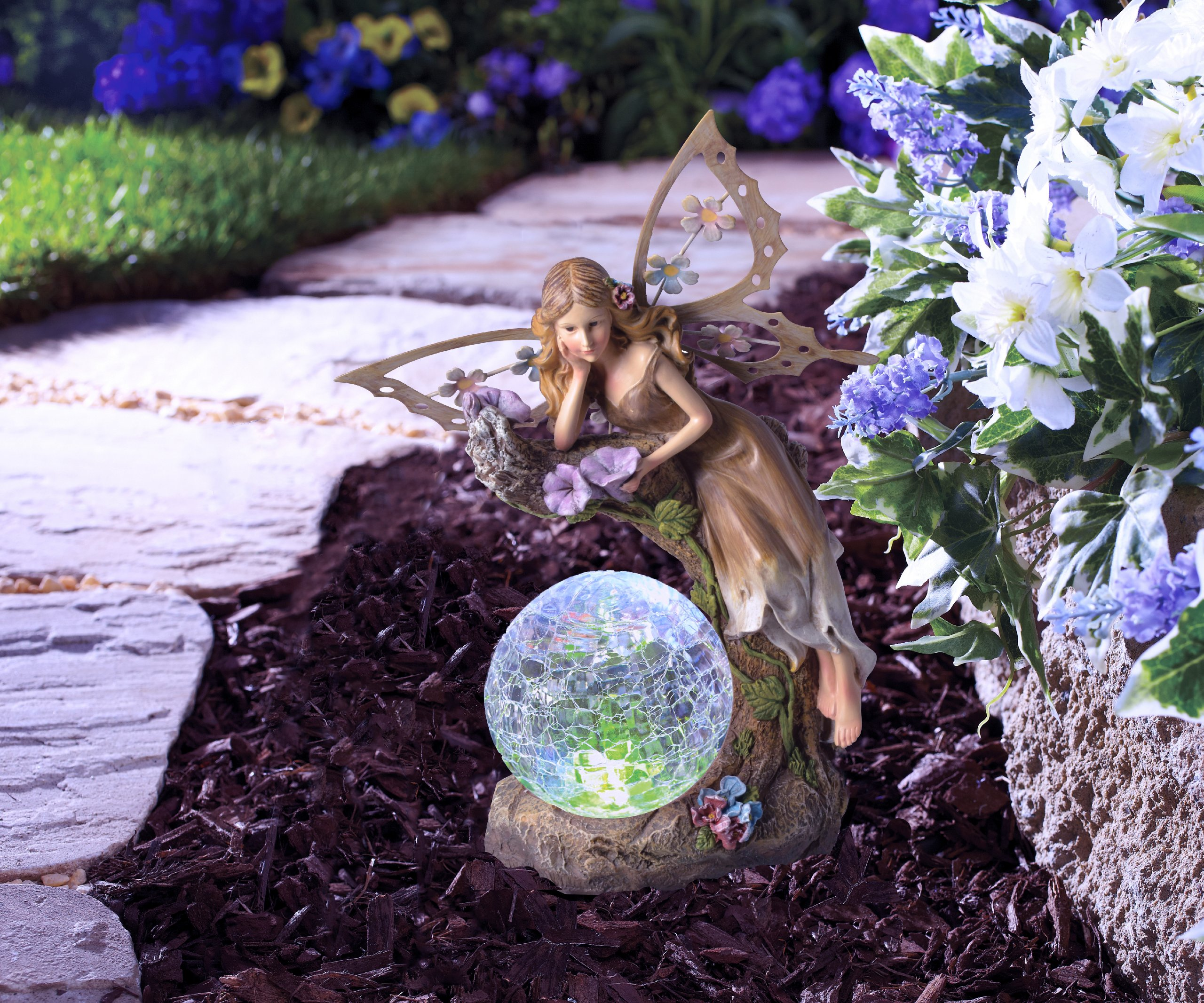 moonrays 91352 solar powered garden fairy with glowing globe ebay. Black Bedroom Furniture Sets. Home Design Ideas